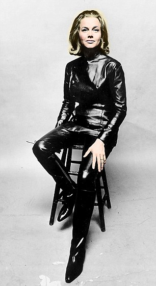 "ACTRESS Honour Blackman (as Cathy Gale) wearing leather outfit in the 60s television programme ""The Avengers""."